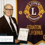 """1980 Richard (Dick) Juline receives 35th anniversary award.  Dick was a sports reporter and helped a great deal with the Stanton Baseball League.  He organized the annual """"Stanton Lions Base Ball Night.""""  This consisted of a dinner for the local teams and was often attended by players from the Los Angeles Dodgers.   The Dodgers signed autographs, talked about playing in the big leagues, and gave pointers to the youth.  Mr. Juline is also the recipient of the Melvin Jones award."""