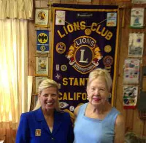 Freidenrich and Stanton Lion Isabelle Parikh.  Freidenrich spoke to the Stanton Lions Club.