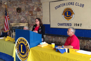 Sheila Casteel 4L4 MD4 Governor visits Stanton Lions Club.